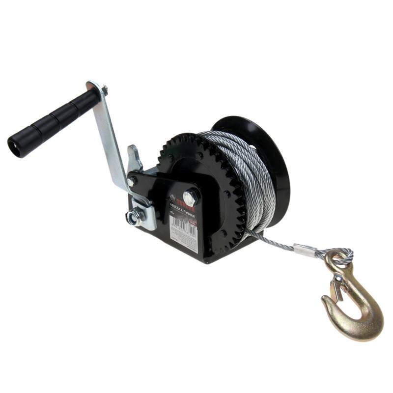 лебедка ручная барабанная tundra - 1400 кг, трос 10.