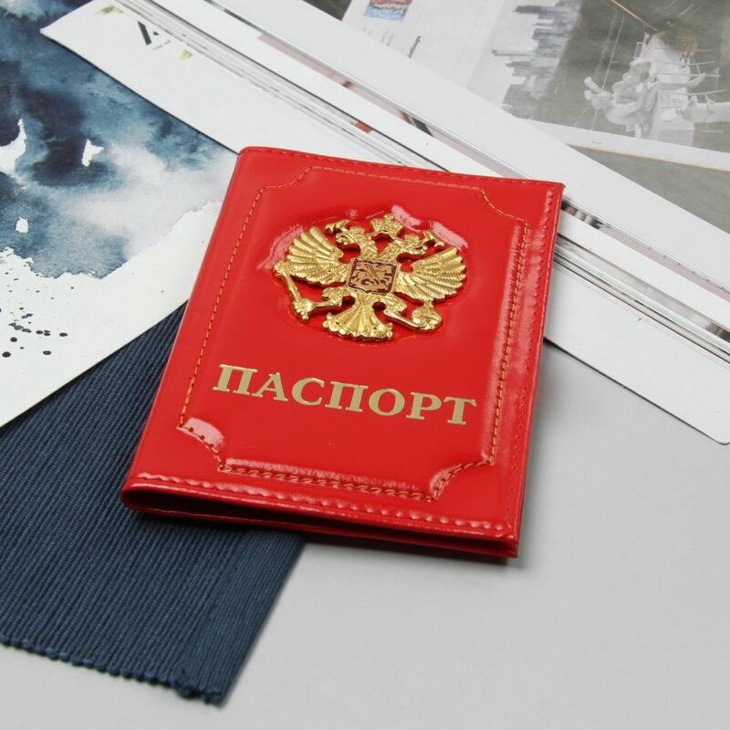 обложка для паспорта герб, красный глянцевый