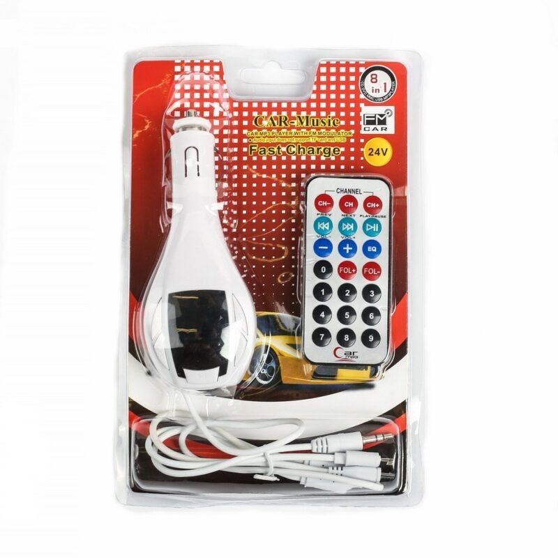 fm - трансмиттер, 12 в, usb/mp3/wma/microsd, белый.