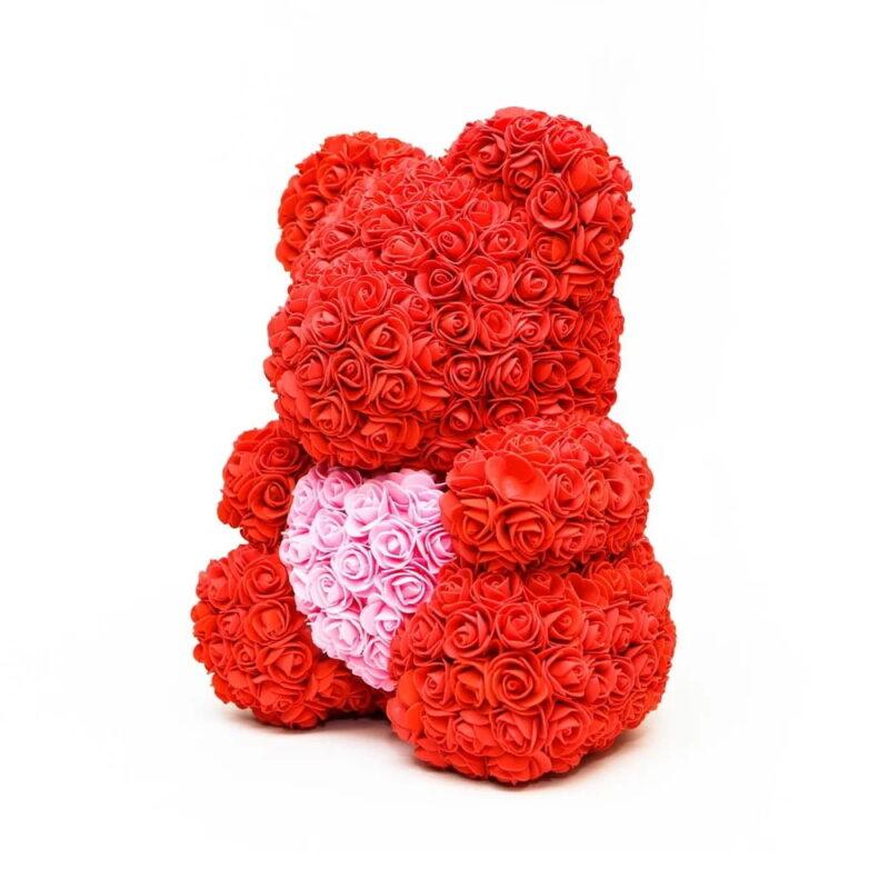 подарочный мишка из бутонов роз с сердцем (40 см.)
