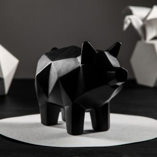 копилка - свинка оригами, 13 х 17 см, чёрный, символ.