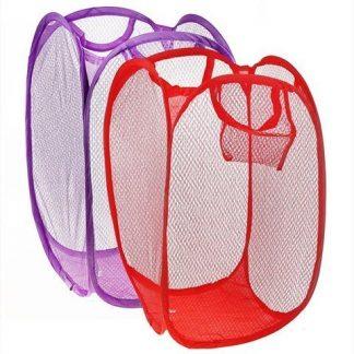 складная корзина для белья - 30х30х52 см, цвет микс