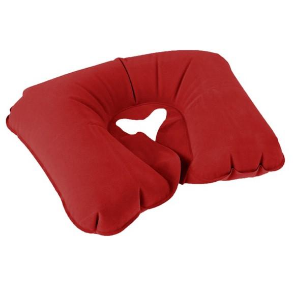 подушка надувная для путешествий, цвет красный.