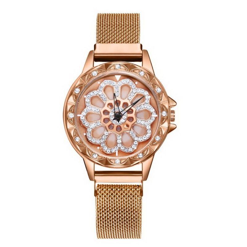 gedi мода розового золота браслет часы для женщин.