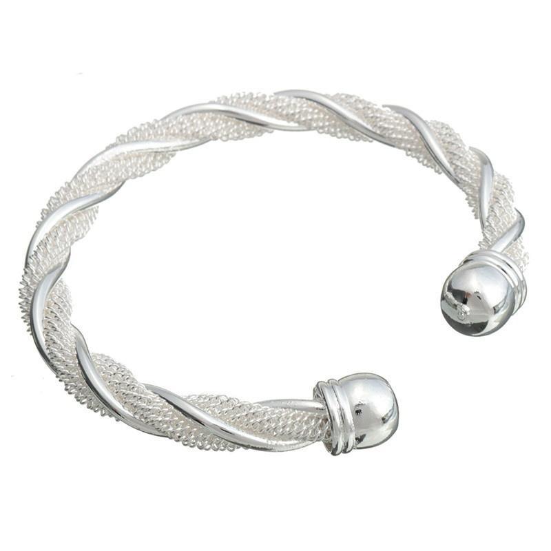 браслет плетенка - покрытие серебро 925 - широкий.