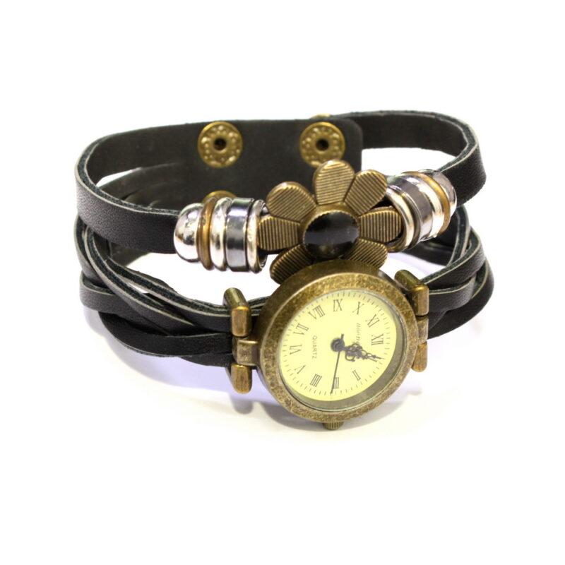 e-ly часы браслет с вставкой в виде цветка, черный.