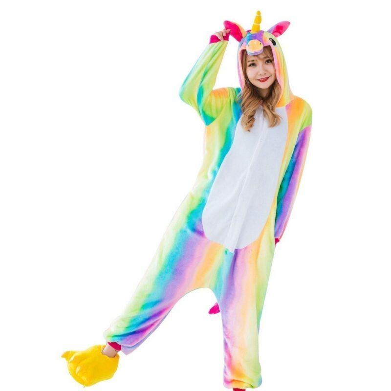 пижама кигуруми радужный единорог, взрослый.