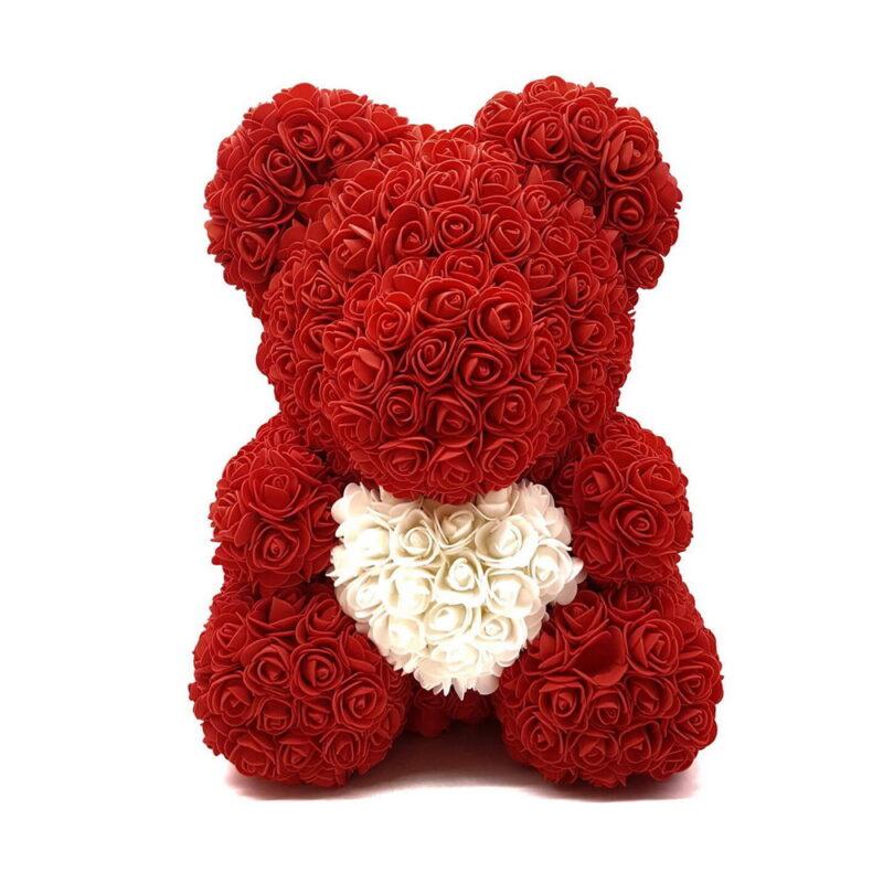 мишка из роз с сердцем в подарочной коробке, 40 см.