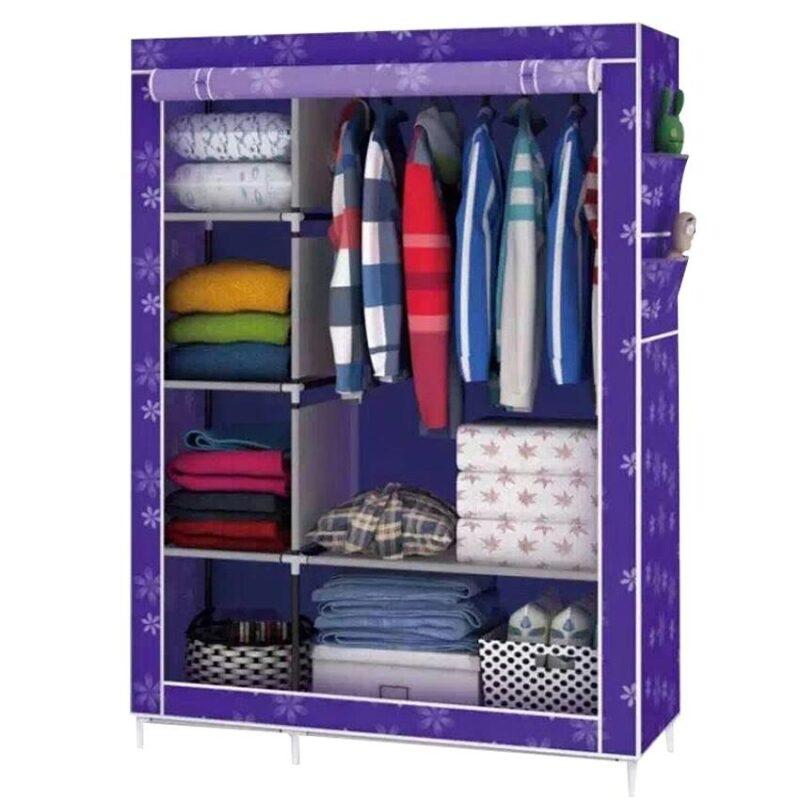 тканевый шкаф для одежды фиолетовый