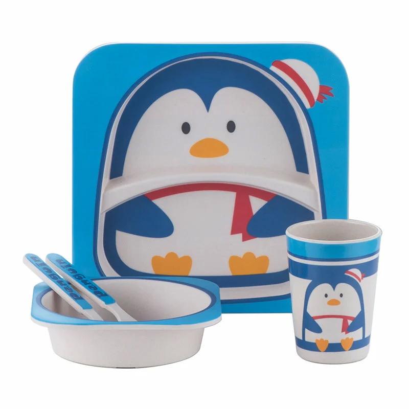 детская эко-посуда из бамбука - пингвин / сервизы