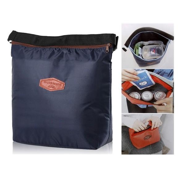 сумка-термос для обедов, голубая