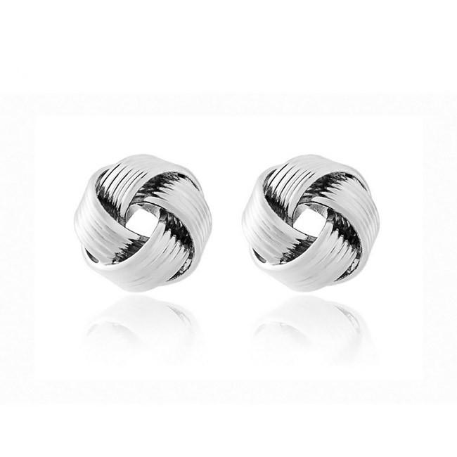серьги-гвоздики спиральные узелки, цвет серебро.