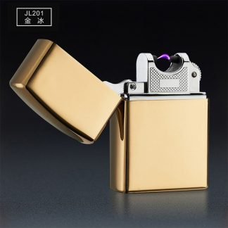 usb зажигалка электроимпульсная - золотой глянец.