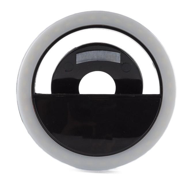 светодиодное кольцо для селфи черное (зарядка через.)