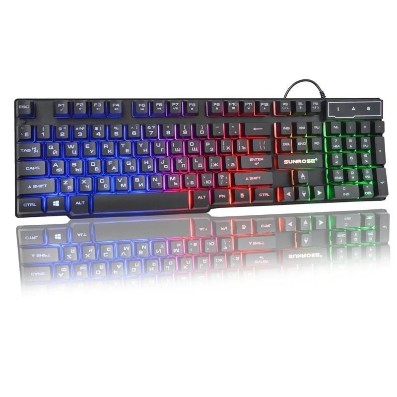клавиатура с подсветкой sunrose k201, черный, арт..