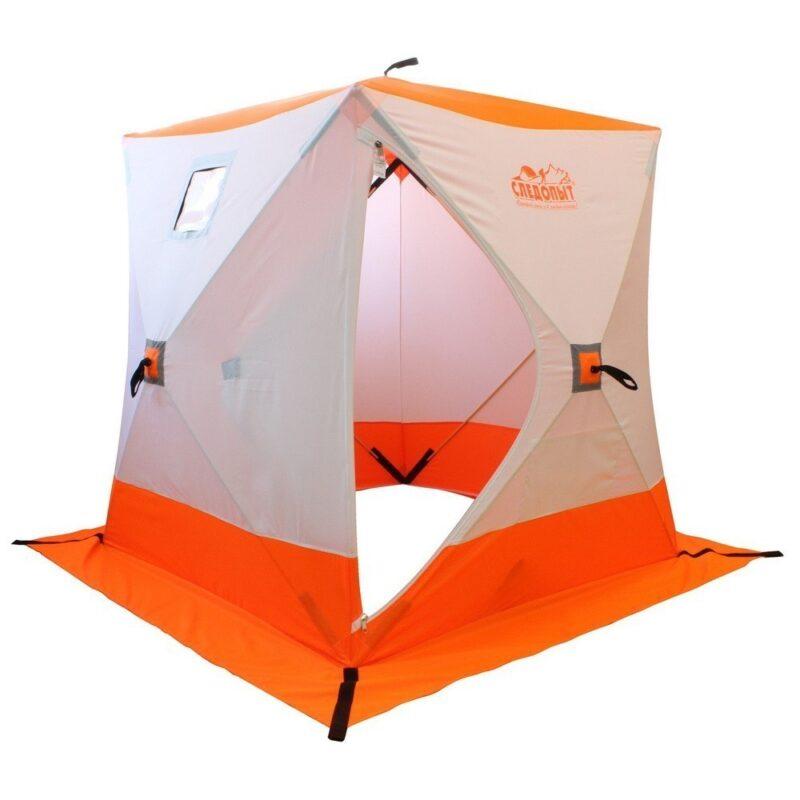 палатка куб зимняя следопыт 1,8x1,8 бело-оранжевая