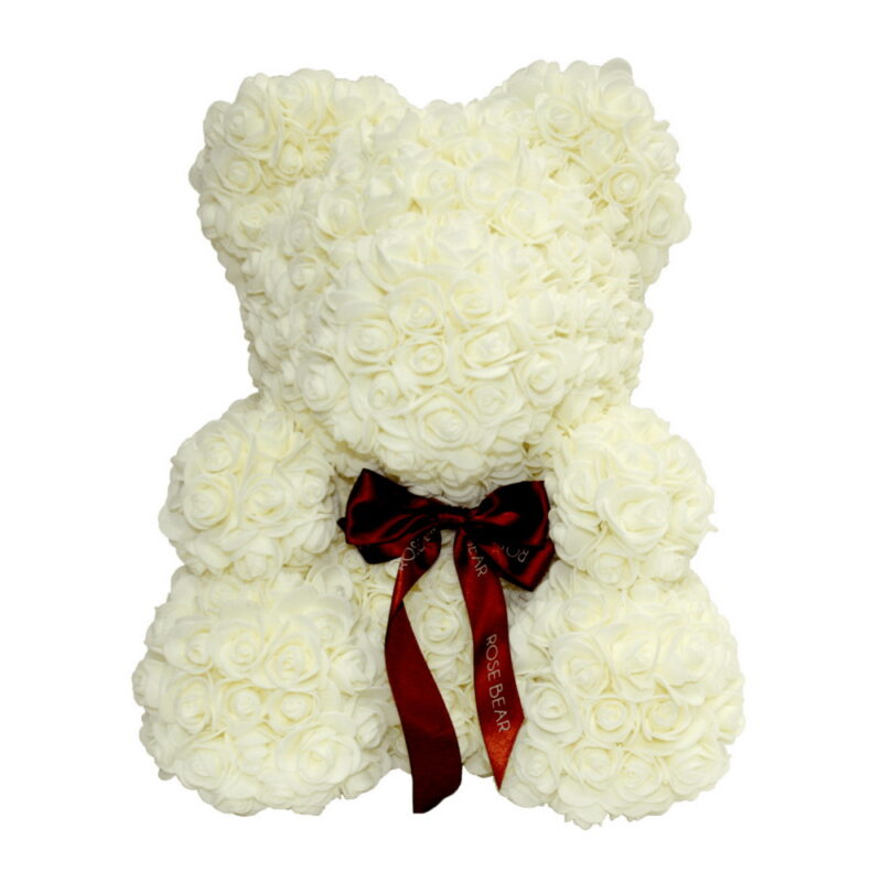 мишка из роз с ленточкой (40 см), молочный цена.