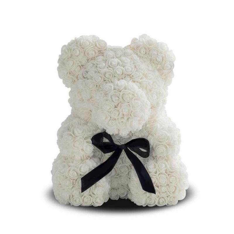 белый мишка из роз, 40 см – красиво, оригинально.