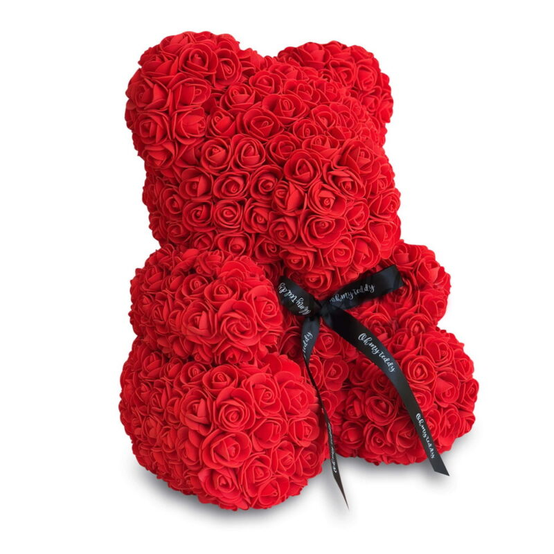 красный мишка из роз 40 см 3d шикарный