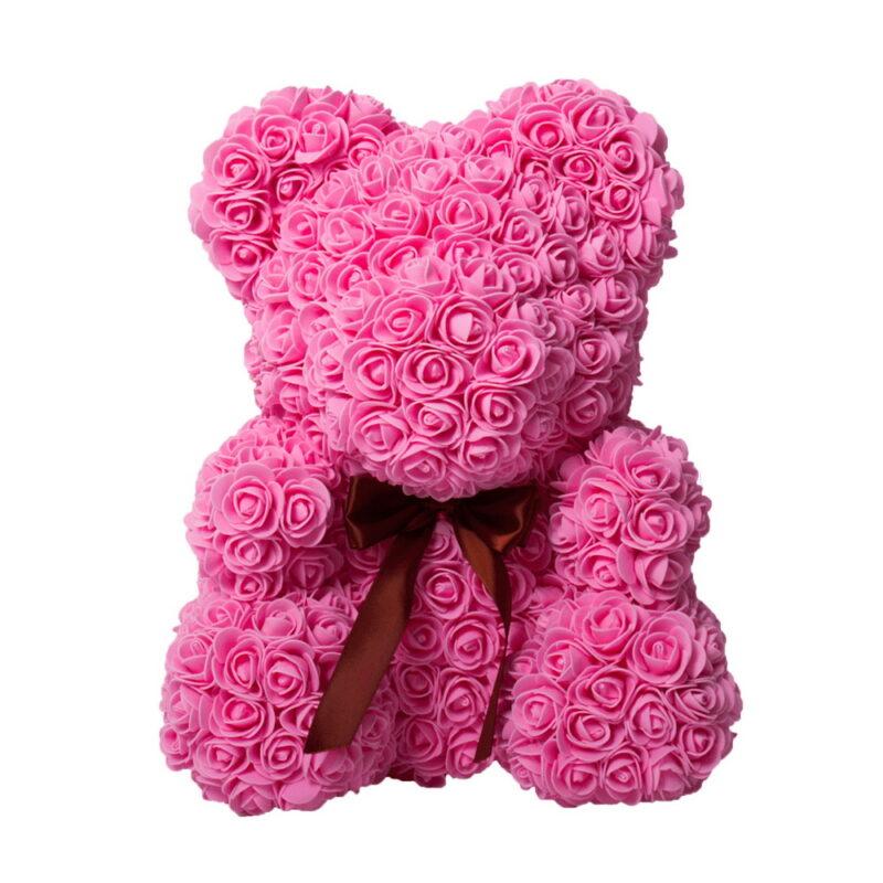 розовый мишка из роз 40см