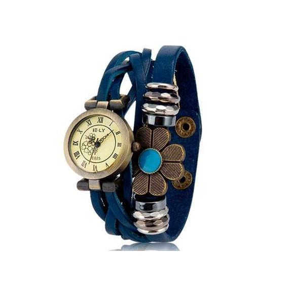 e-ly часы браслет с вставкой в виде цветка, синий.