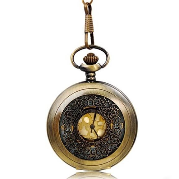 ретро винтаж цепи кварцевые карманные часы.